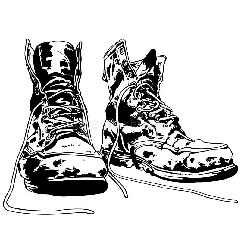 Ilustra??o velha das botas do trabalho por crafteroks ilustração stock