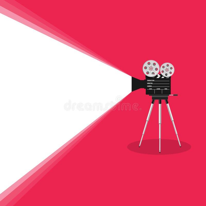 Ilustração velha do filme da câmera no fundo cor-de-rosa ilustração royalty free