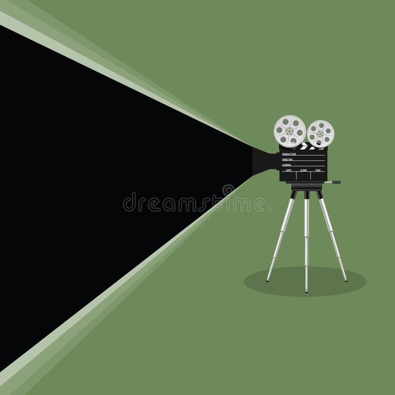 Ilustração velha do filme da câmera no fundo verde ilustração do vetor