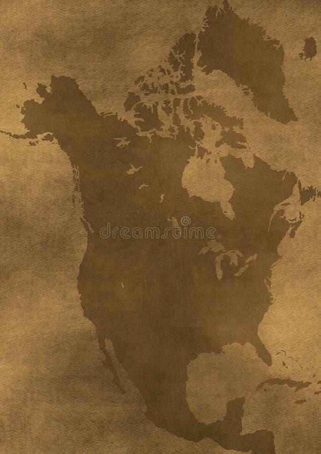 Ilustração velha do mapa de América do grunge ilustração royalty free