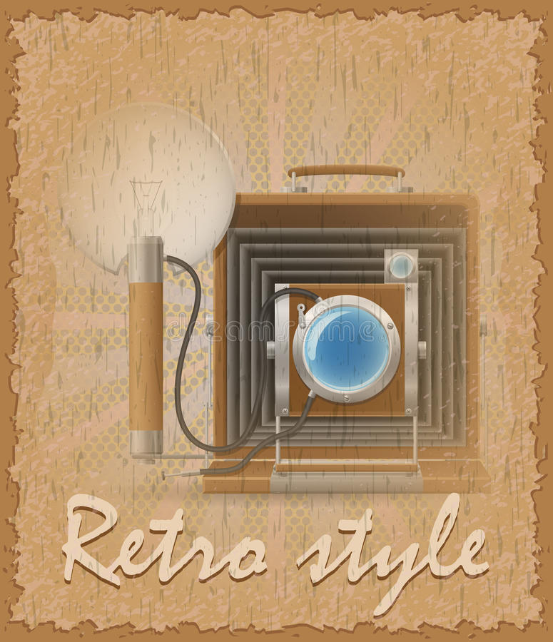 Ilustração velha do vetor da foto da câmera do cartaz retro do estilo ilustração do vetor