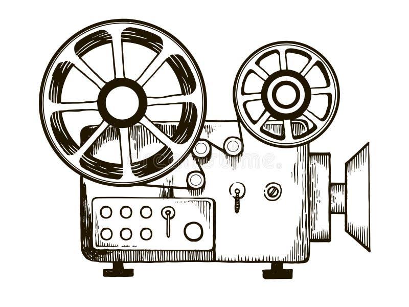 Ilustração velha do vetor da gravura do projetor de filme ilustração stock