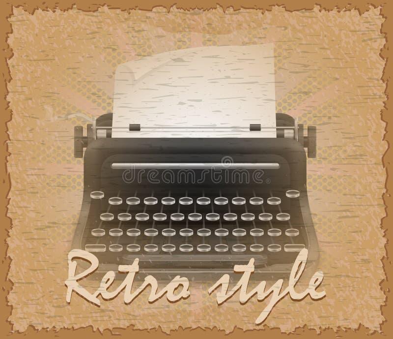 Ilustração velha do vetor da máquina de escrever do cartaz retro do estilo ilustração stock