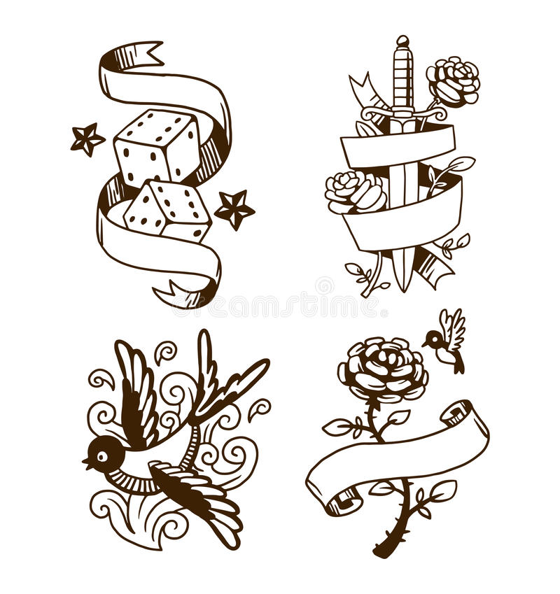 Ilustração velha do vetor da tatuagem do vintage ilustração do vetor