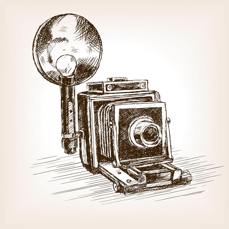 Ilustração velha do vetor do estilo do esboço da câmera da foto ilustração stock