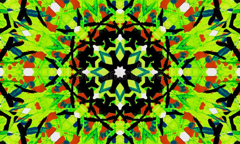 Ilustração verde brilhante e complexa da mandala ilustração royalty free