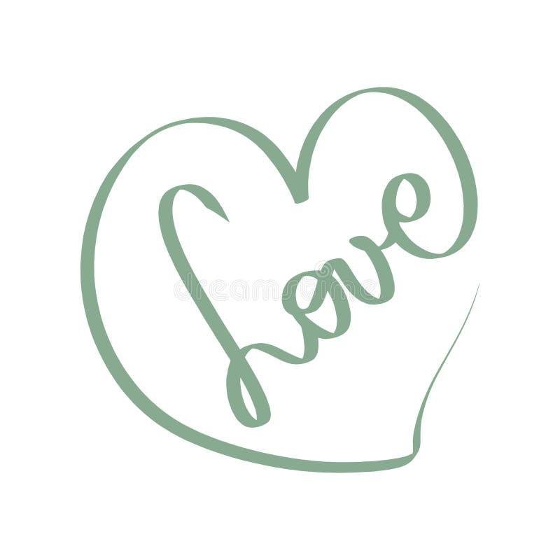 Ilustração verde do amor do vetor Sinal rom?ntico Cart?o preto do cora??o ?cone do amor Mão redonda suja Tangled do garrancho tir ilustração royalty free