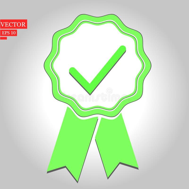 Ilustração verde do certificado da aprovação no fundo branco ilustração royalty free