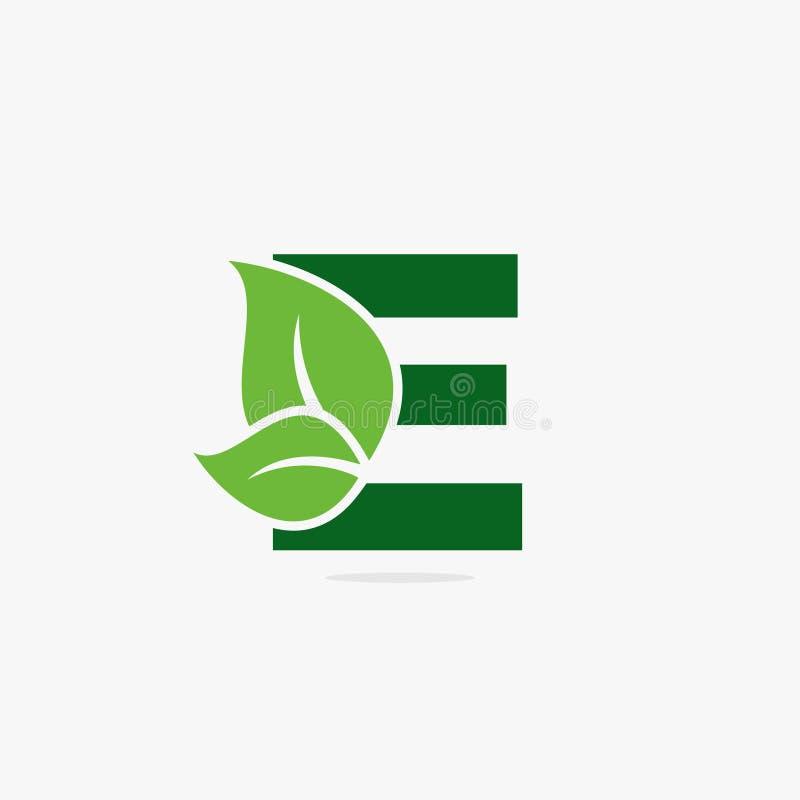Ilustração verde do logotipo da folha da letra fotos de stock royalty free