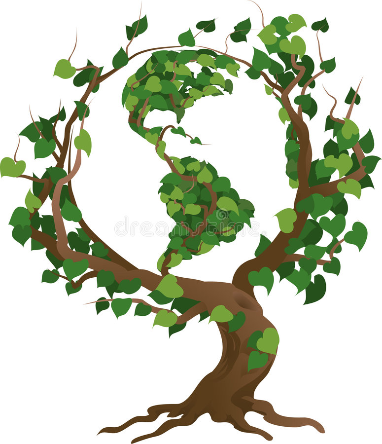 Ilustração verde do vetor da árvore do mundo ilustração royalty free