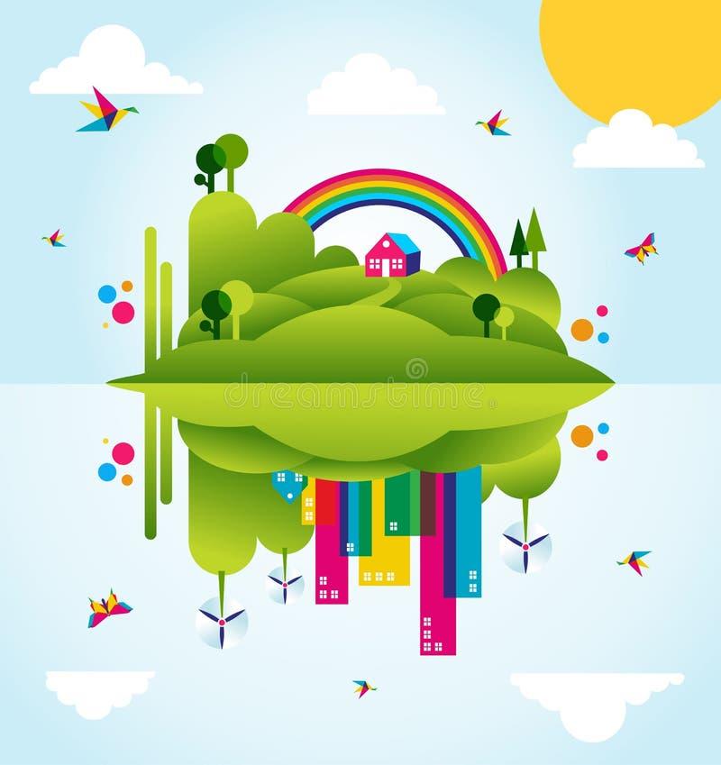 Ilustração verde feliz do conceito do tempo de mola da cidade ilustração royalty free
