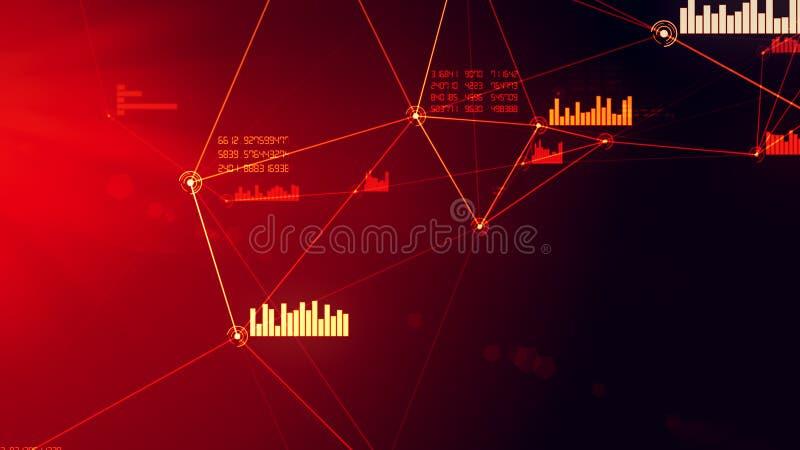 Ilustração vermelha abstrata futurista da grade da conexão da rede e de dados foto de stock