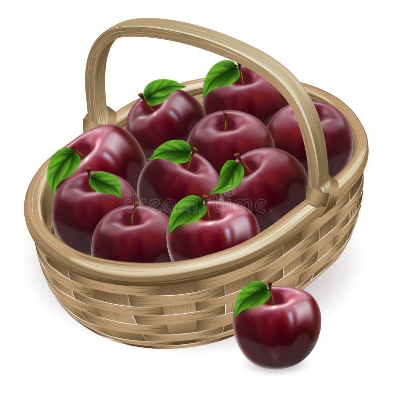 Ilustração vermelha da cesta da maçã ilustração stock