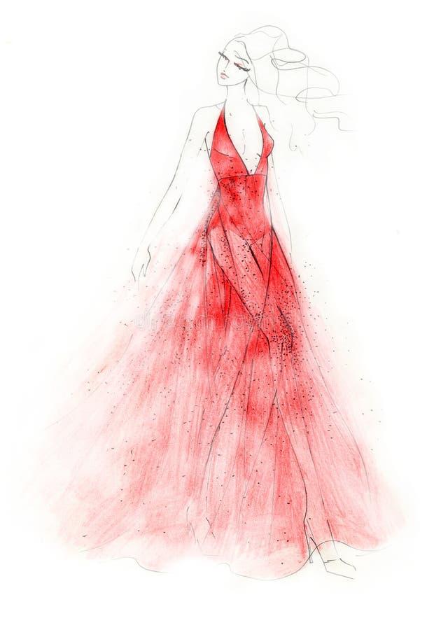 A ilustração vermelha da forma do vestido ilustração royalty free