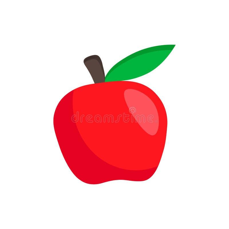 Ilustração vermelha da maçã do vetor isolada no fundo branco Ícone liso do fruto simples ilustração royalty free