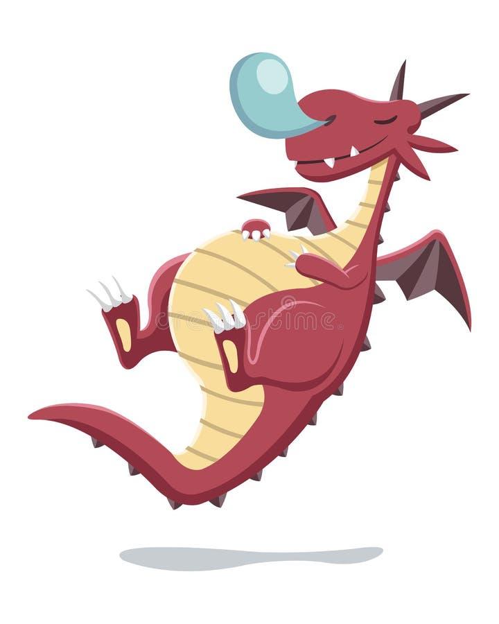 Ilustração vermelha do dragão do sono do estilo dos desenhos animados ilustração royalty free