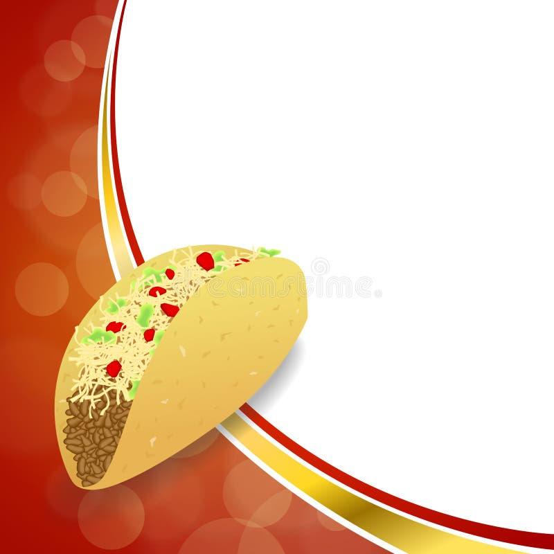 Ilustração vermelha do quadro da onda do ouro amarelo do taco abstrato do alimento do fundo ilustração do vetor