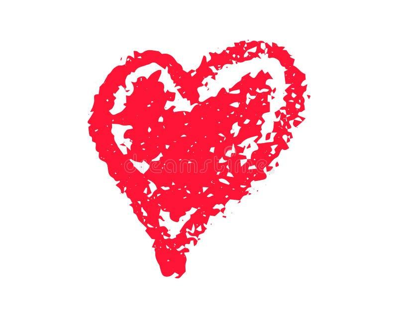Ilustração vermelha do vetor do coração do Grunge no fundo branco Clipart do St Valentine Day Bolha do coração da textura do giz  ilustração stock