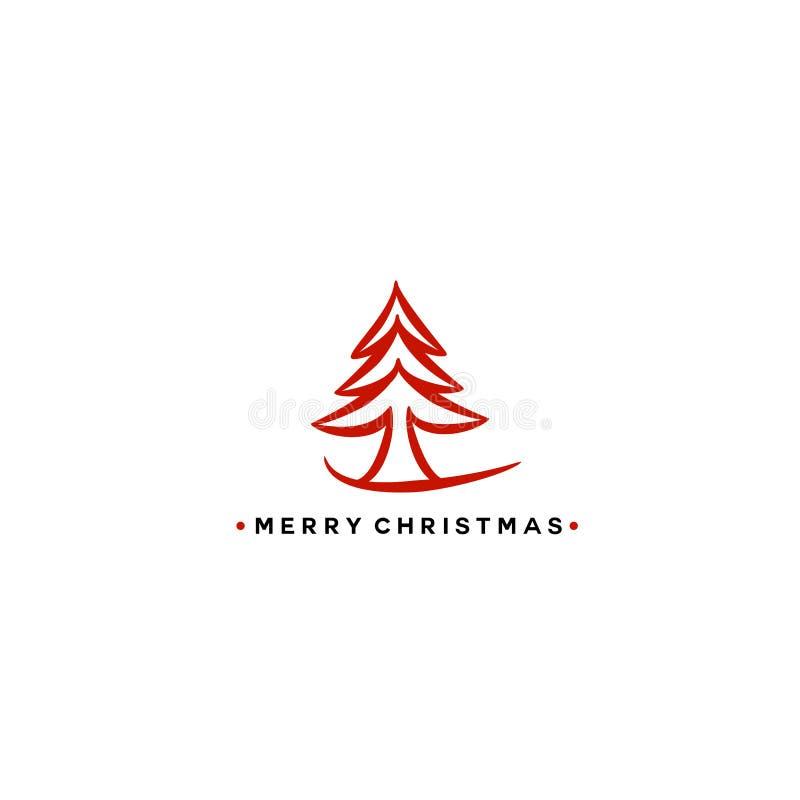 Ilustração vermelha do vetor da árvore de Natal ilustração stock
