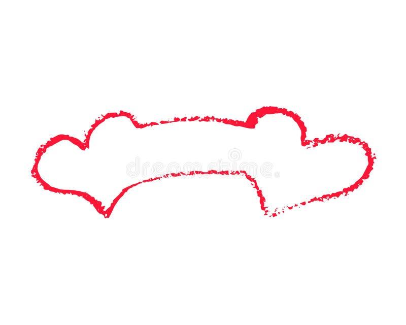 Ilustração vermelha do vetor da bandeira dos corações no fundo branco Clipart do St Valentine Day Fita do coração do giz com luga ilustração do vetor