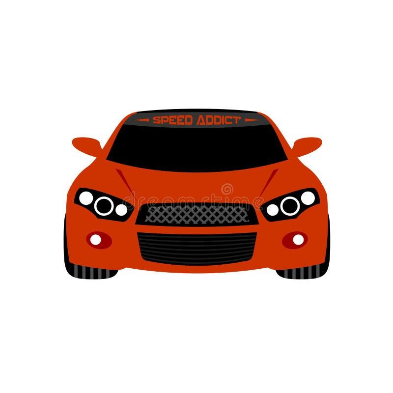 Ilustração vermelha do vetor da opinião dianteira do carro desportivo ilustração stock