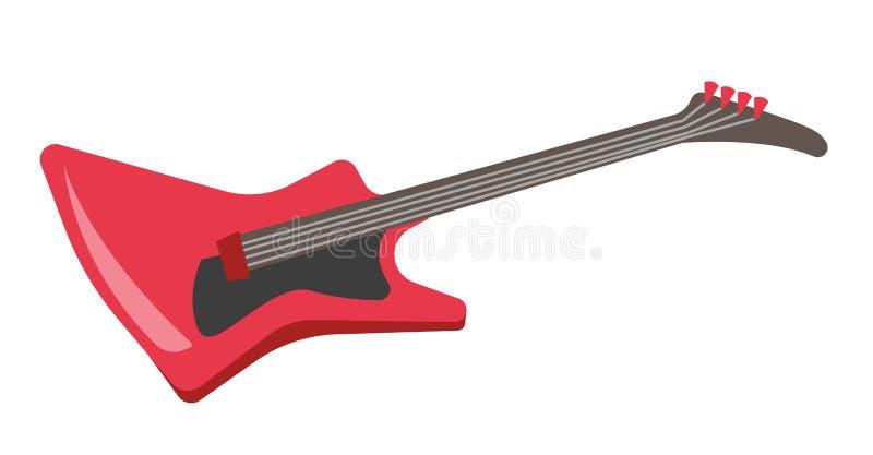 Ilustração vermelha dos desenhos animados do vetor da guitarra elétrica ilustração royalty free