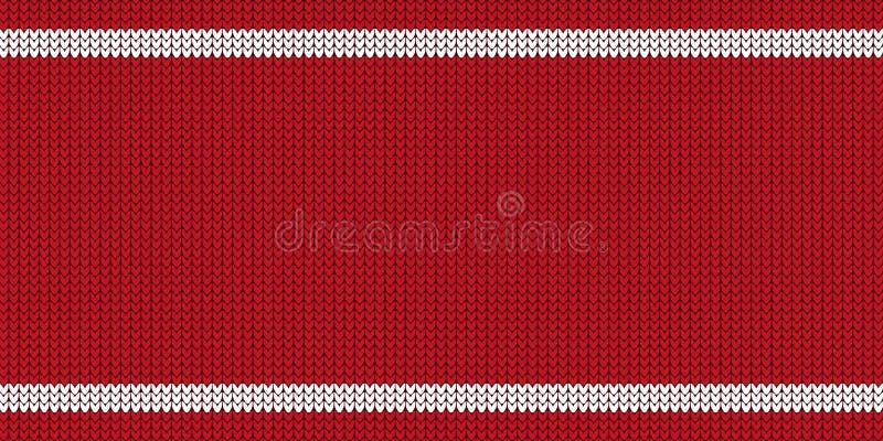 Ilustração vermelha e branca do teste padrão feito malha - Jumper Design With Copy Space - do vetor ilustração stock