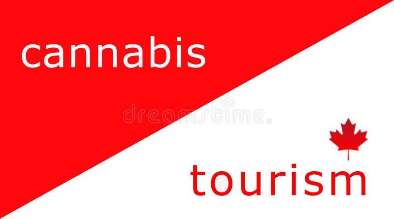 Ilustração vermelha e branca para o turismo canadense com o cannabis na vista ilustração stock