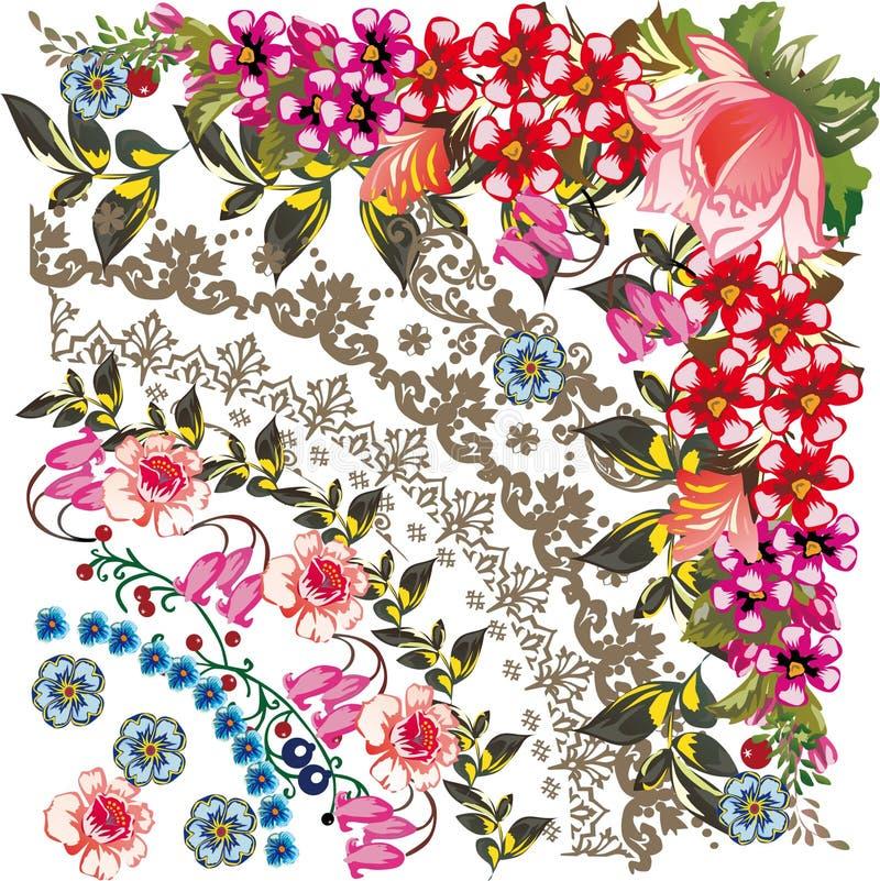 Ilustração vermelha e cor-de-rosa da flor ilustração stock
