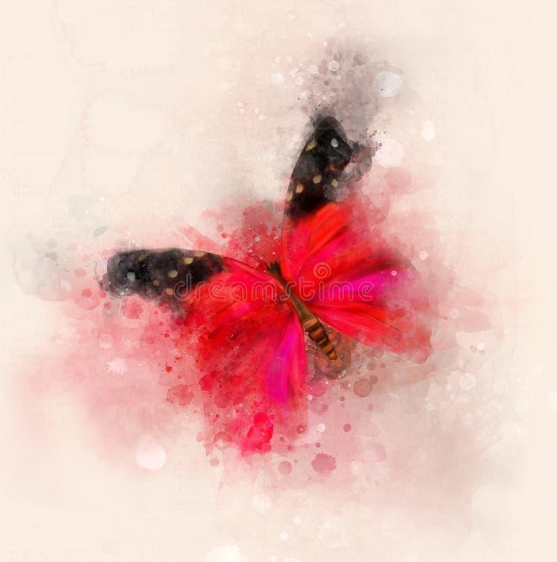 Ilustração vermelha elegante da aquarela da borboleta ilustração stock