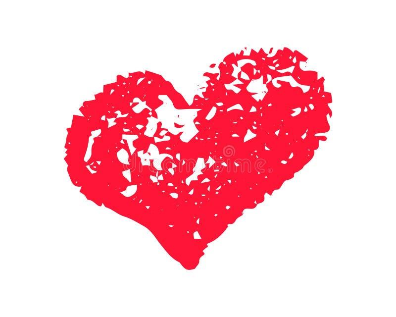 Ilustração vermelha Textured do vetor do coração no fundo branco Clipart do St Valentine Day Isolado da bolha do coração da textu ilustração do vetor