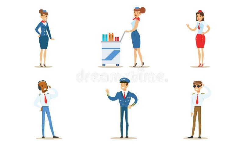 Ilustração Vetor de Aeronaves de Voo, Capitão, Piloto, Controlador de Tráfego Aéreo e Stewarusas ilustração do vetor