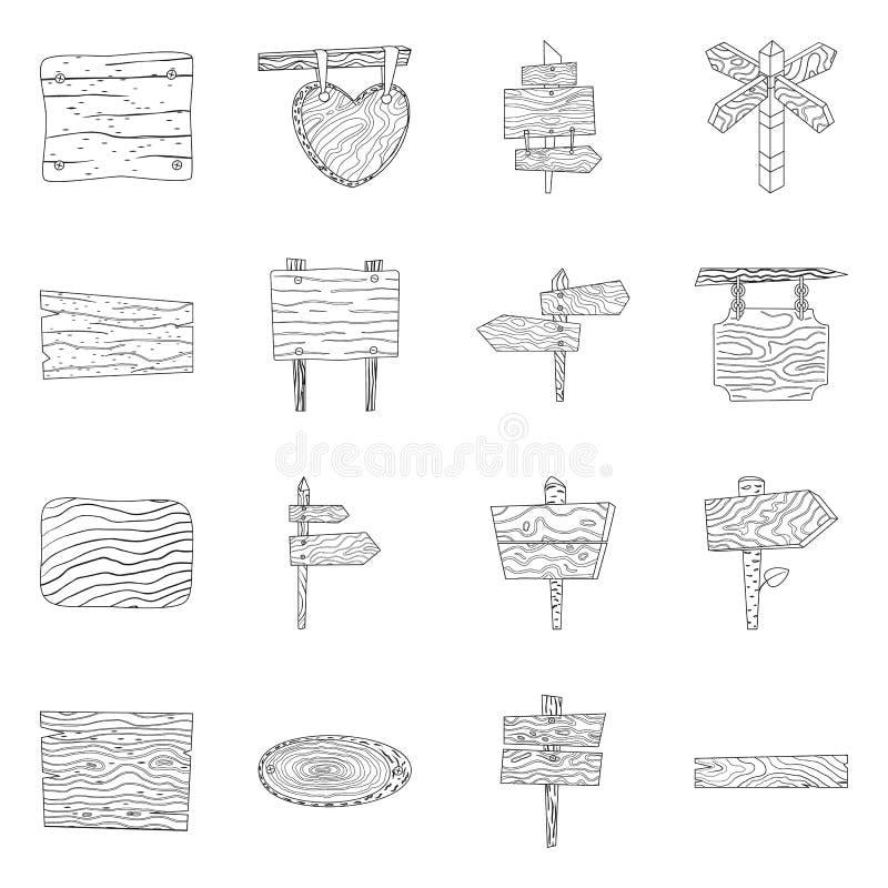 Ilustração vetorial da madeira de folhosas e do símbolo do material Coleção de madeira de folhosas e ícone do vetor de madeira pa ilustração royalty free