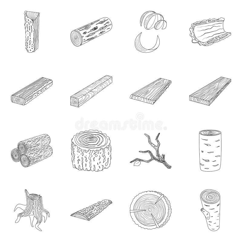 Ilustração vetorial da placa de sinalização e do símbolo da madeira Recolha da ilustração do vetor de porta-assinaturas e de made ilustração royalty free