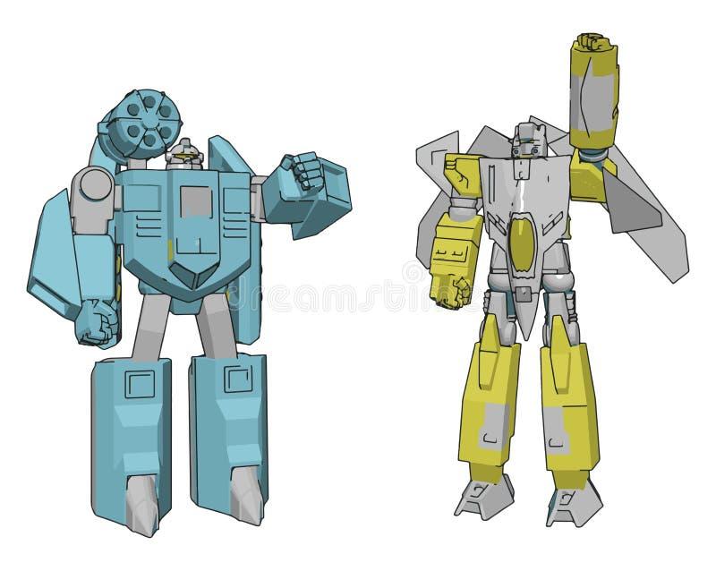 Ilustração vetorial de dois robôs ilustração royalty free