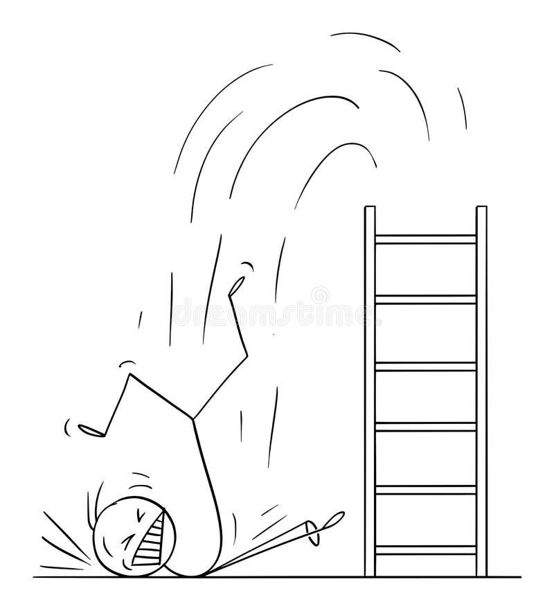 Ilustração vetorial de homem ou empresário caindo duro da escada Conceito de falha de negócios ilustração stock