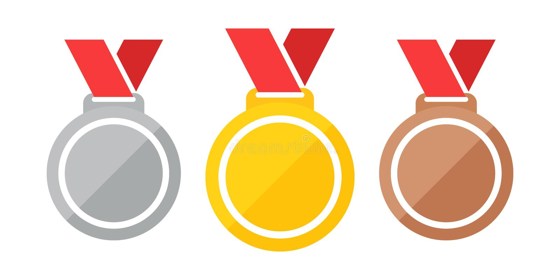 Ilustração vetorial de medalhas eps 10 Conjunto de medalhas de ouro, prata, bronze Medalhas de ouro, prata e bronze com vetor pla ilustração do vetor