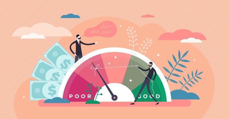 Ilustração vetorial de pontuação de crédito Avaliação da riqueza no conceito de minúsculas pessoas ilustração stock