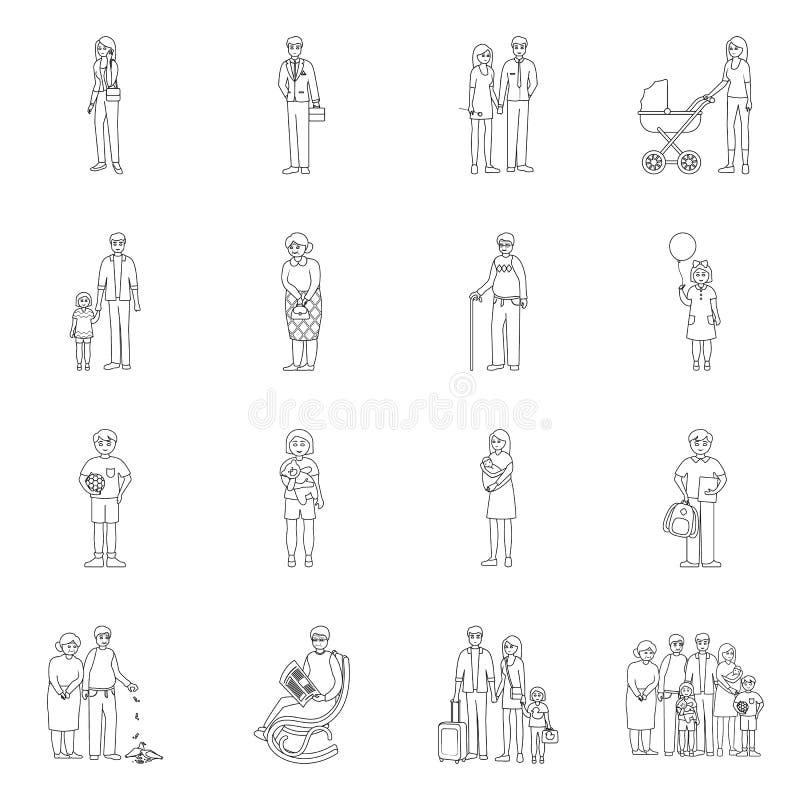 Ilustração vetorial de sinal de felicidade e caráter Coleção de símbolo de estoque feliz e retrato para a Web ilustração stock