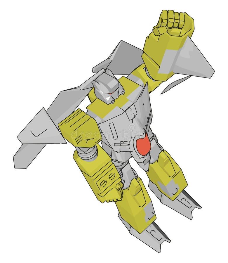 Ilustração vetorial de um robô cinza e amarelo ilustração stock