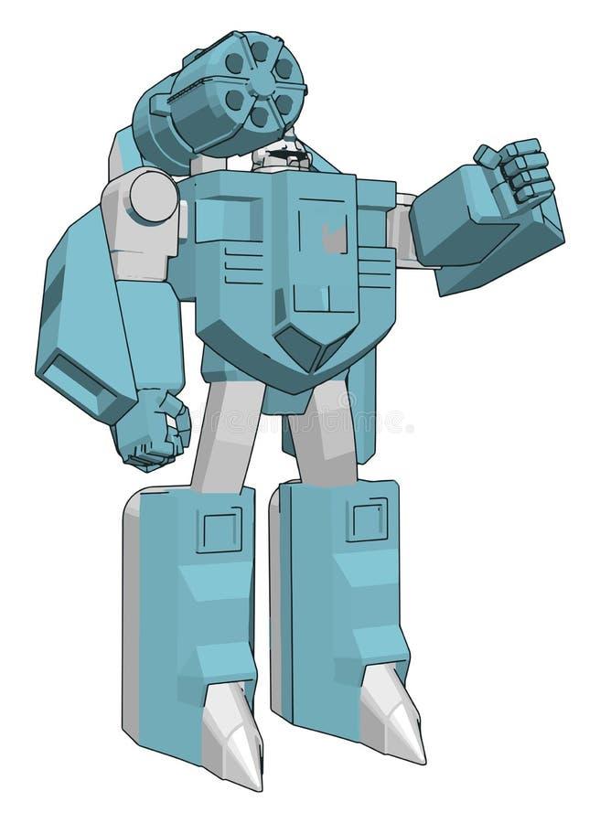 Ilustração vetorial de um robô cinza e azul ilustração royalty free