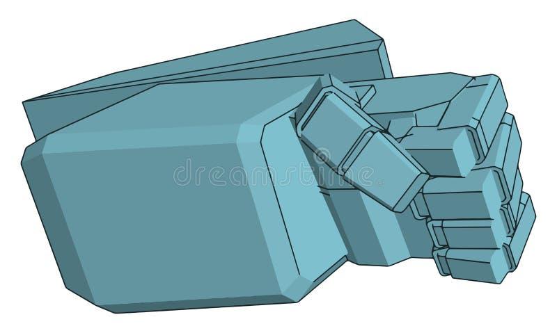 Ilustração vetorial de uma mão robot azul ilustração stock