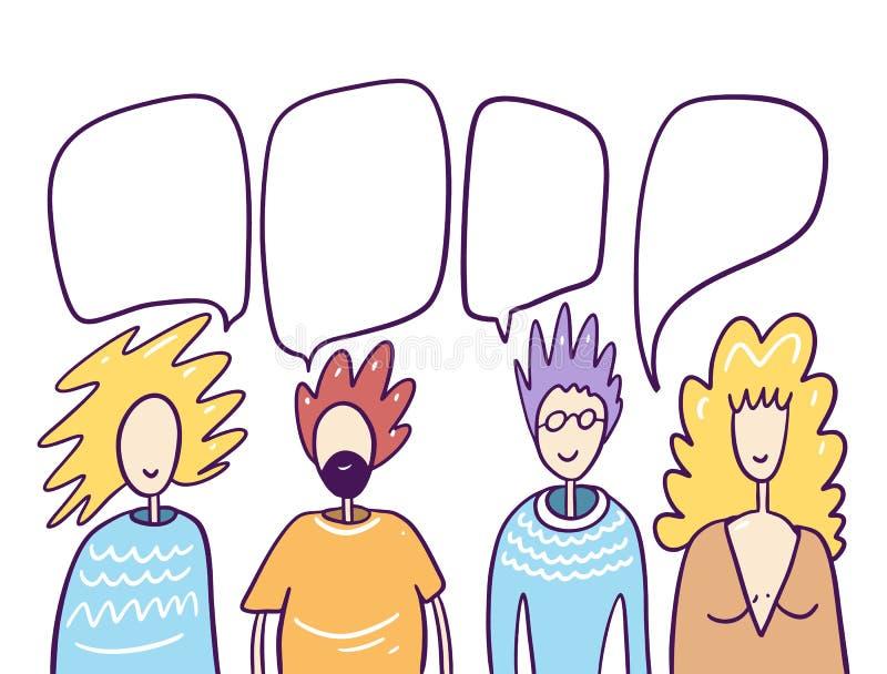 Ilustração vetorial do estilo cartoon chatting para pessoas ilustração royalty free