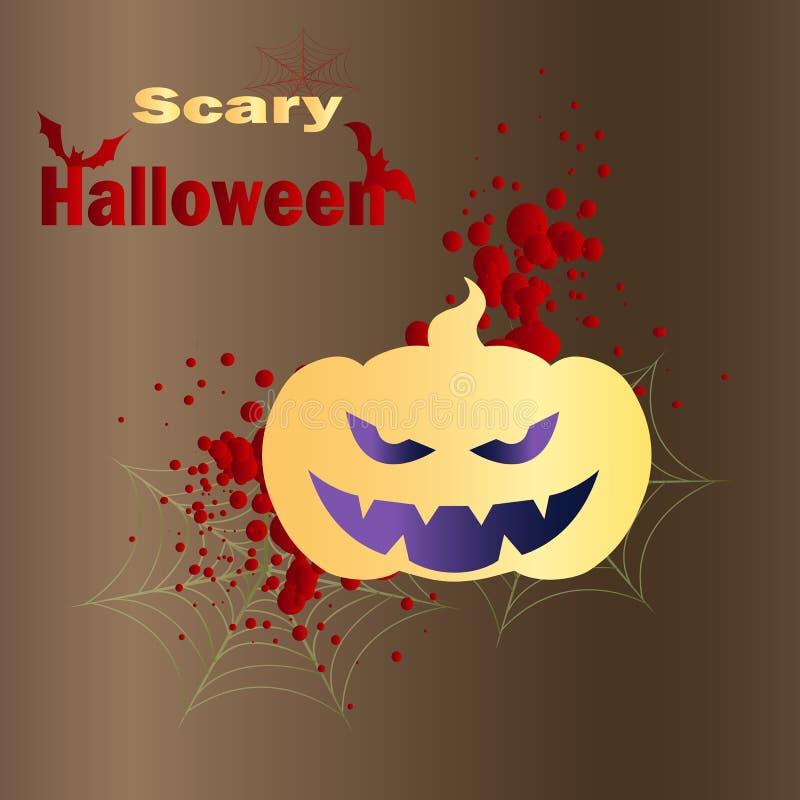 Ilustração vetorial do jack de abóbora e teia de aranha - feliz halloween, fundo criativo ilustração do vetor