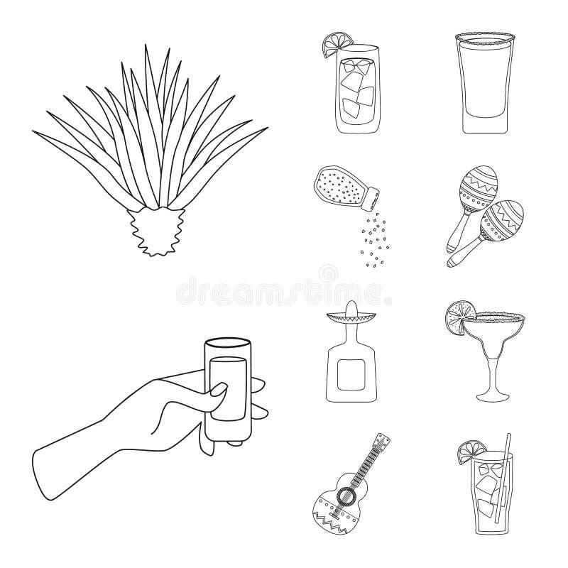 Ilustração vetorial do México e ícone de tequila Coleção do México e símbolo de fiesta para web ilustração royalty free