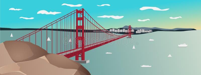 Ilustração Vetorial do por do sol de golden gate bridge em San Francisco ilustração stock