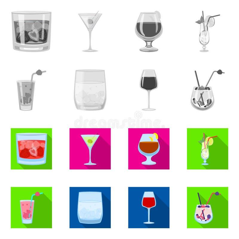 Ilustração vetorial do símbolo do álcool e do restaurante Coleção de licores e ilustração do vetor de existências de ingredientes ilustração do vetor