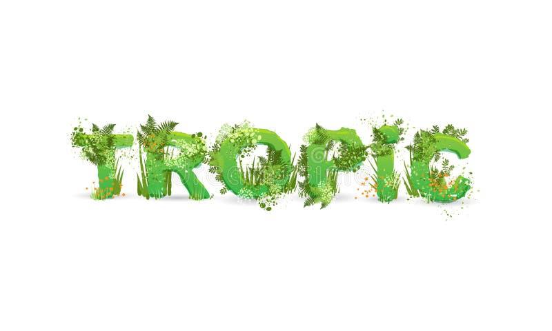 Ilustração vetorial do termo Trópico com letras maiúsculas estilizadas como uma floresta tropical, com ramos verdes, folhas, gram ilustração stock