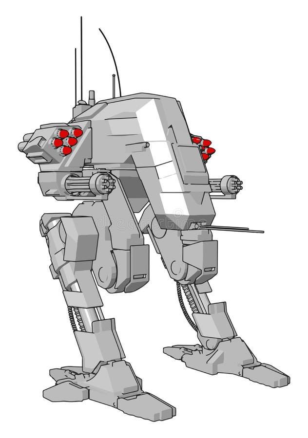 Ilustração vetorial simples de um robô cinza em pé ilustração do vetor