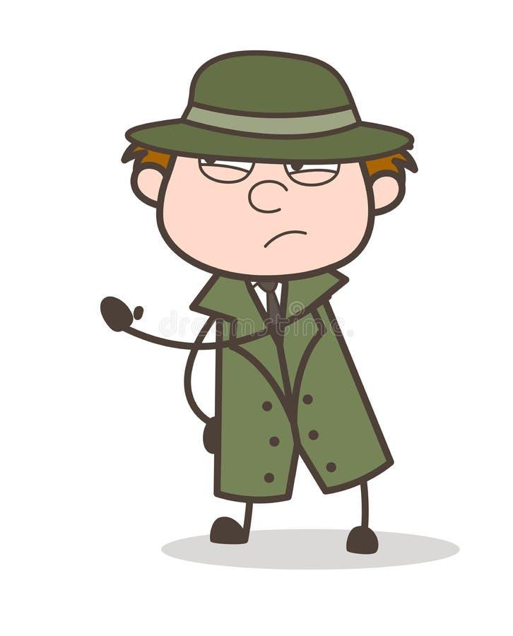 Ilustração virada de Hand Gesture Vetora do detetive dos desenhos animados ilustração royalty free